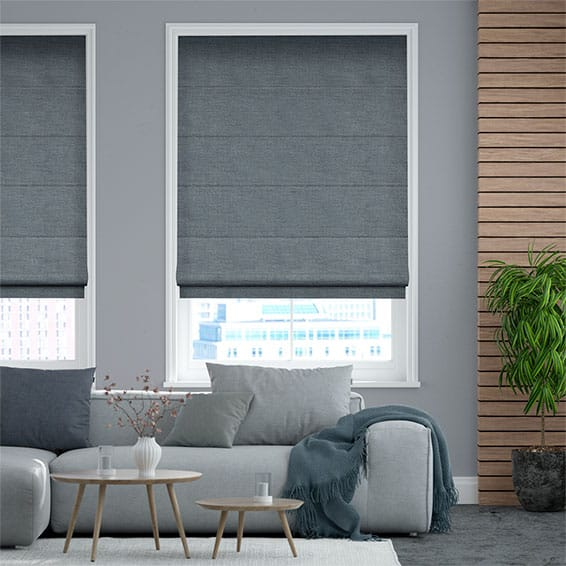 Alberta Linen Blue Wash  Roman Blind
