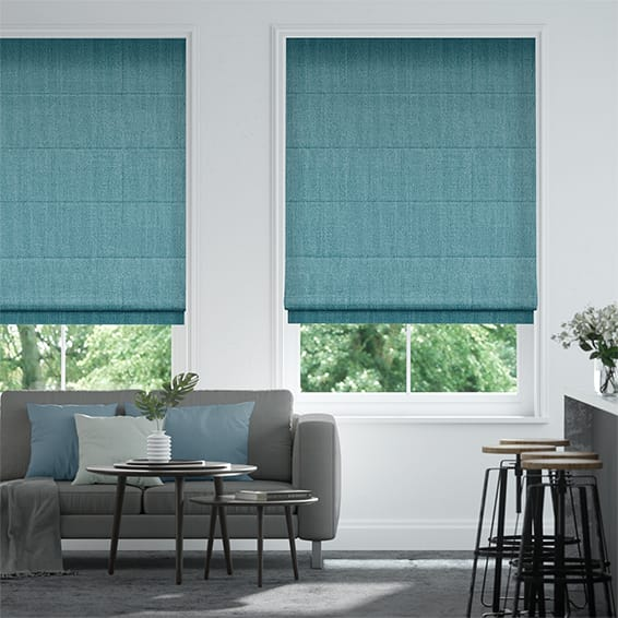 Alberta Linen Bright Blue Roman Blind