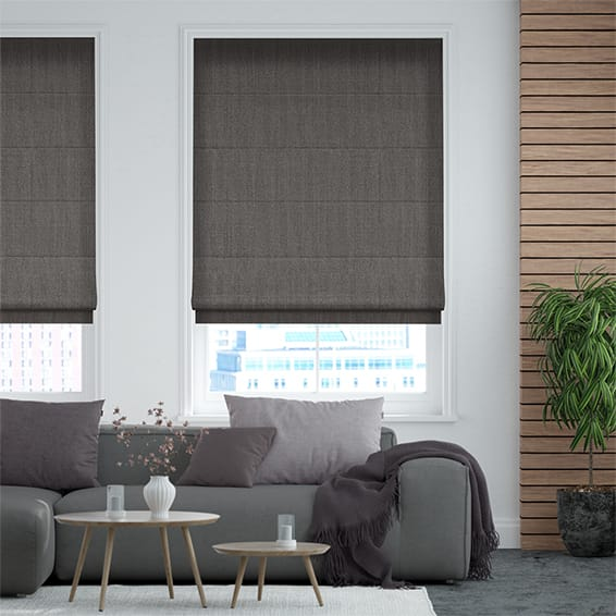 Alberta Linen Warm Grey Roman Blind