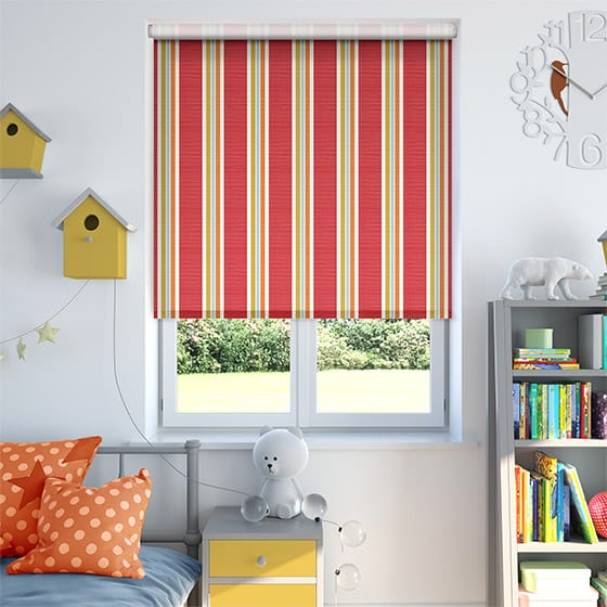 Balanced Stripe Red Roller Blind