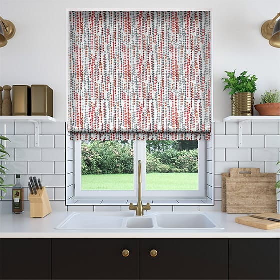 Beads Red Roman Blind