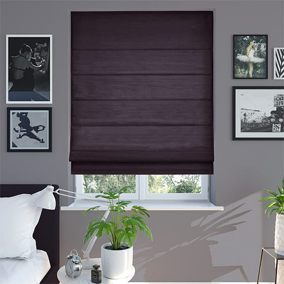 Bormio Faux Silk Purple Roman Blind