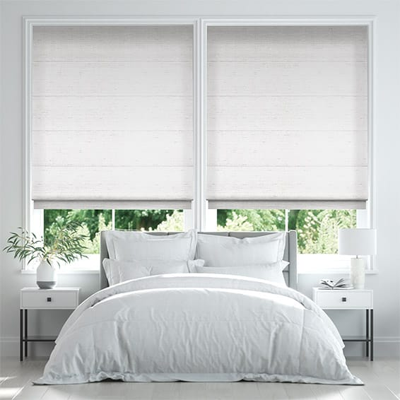 Bormio Faux Silk Soft White Roman Blind