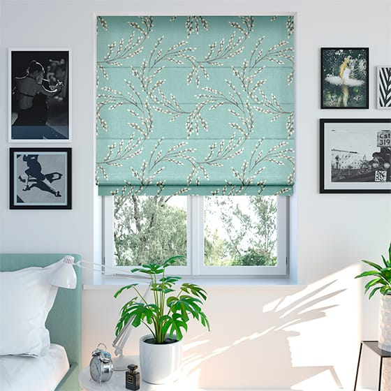 Budding Twigs Duck Egg Roman Blind