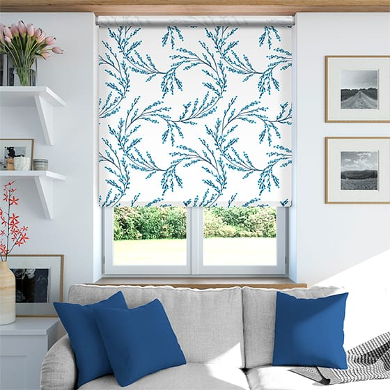 Budding Twigs Electric Blue Roller Blind