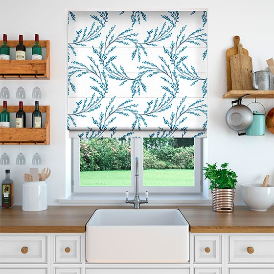 Budding Twigs Electric Blue Roman Blind