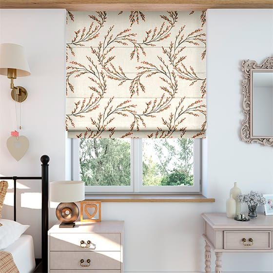 Budding Twigs Linen Berry Roman Blind