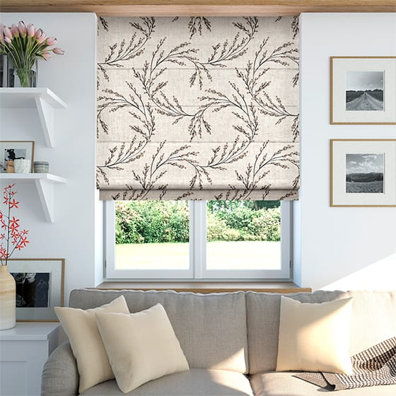 Budding Twigs Linen Rustic Neutral Roman Blind
