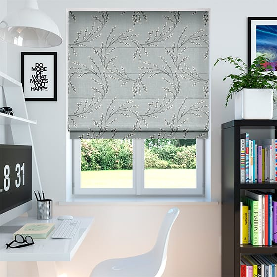 Budding Twigs Twilight Grey Roman Blind