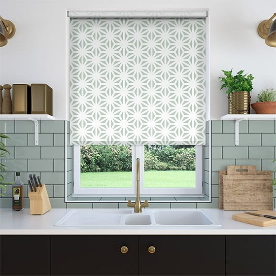 Burst Gentle Green Roller Blind