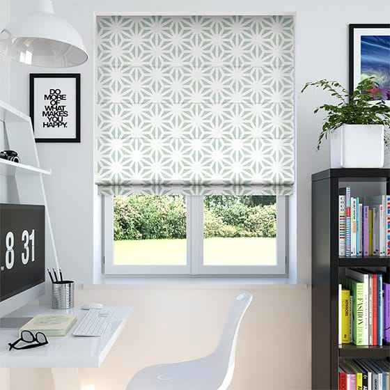 Burst Gentle Green Roman Blind