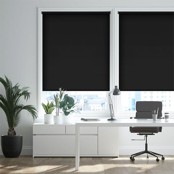 Cannes Blackout Simply Black Roller Blind