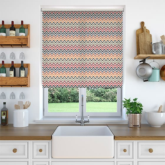 Chevron Sunset Red Roller Blind