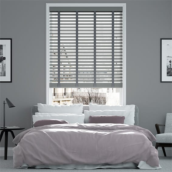Contempo Brooklyn Grey & Asphalt Faux Wood Blind with Tape