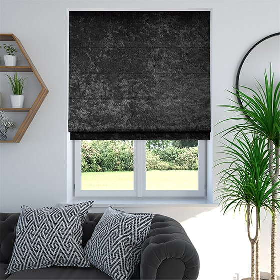 Crushed Velvet Black Roman Blind
