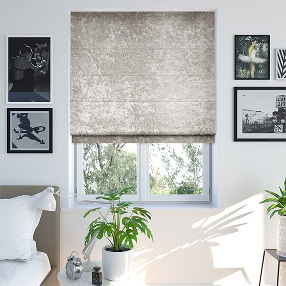 Crushed Velvet Café Roman Blind
