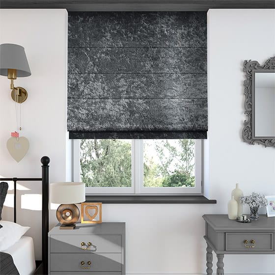 Crushed Velvet Darkest Silver Roman Blind