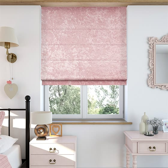 Crushed Velvet Pretty Pink Roman Blind