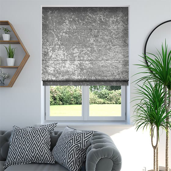 Crushed Velvet Silver Roman Blind
