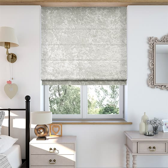 Crushed Velvet Silvered White Roman Blind