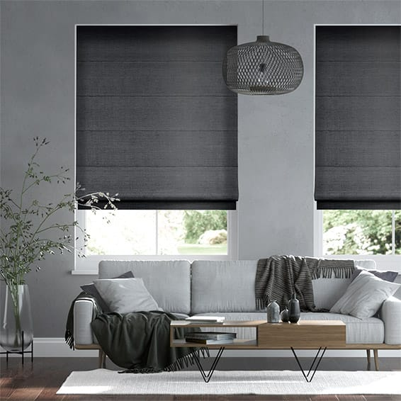 Faux Silk Luxe Darkest Grey Roman Blind