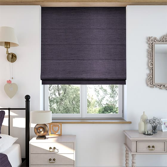 Faux Silk Luxe Deep Purple Roman Blind
