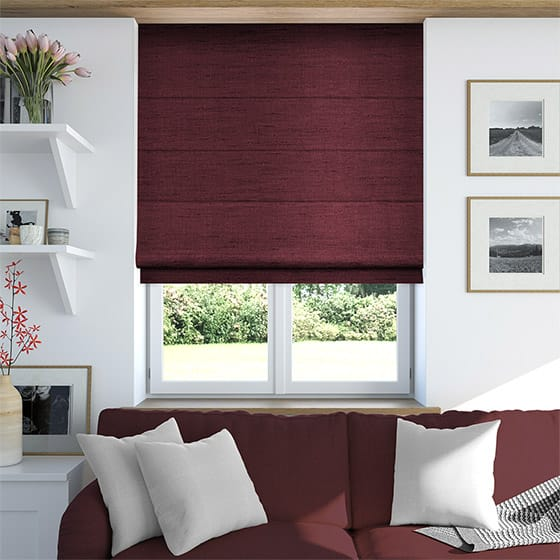 Faux Silk Luxe Deep Red Roman Blind