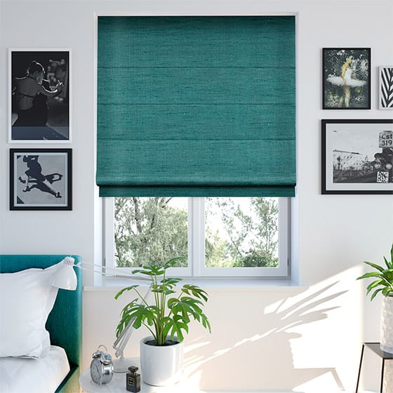 Faux Silk Luxe Turquoise Roman Blind