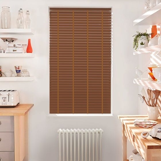 Innovations Bright Conker with Tan Tape Faux Wood Blind - 50mm Slat