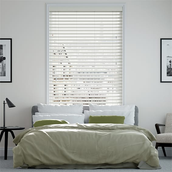 Innovations Chic White Faux Wood Blind - 50mm Slat