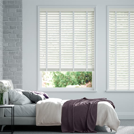 Innovations Chic White with White Tape Faux Wood Blind - 50mm Slat