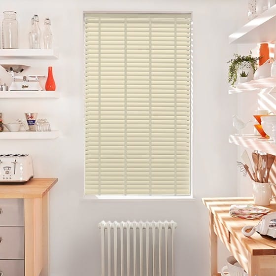 Innovations Cool Ivory with Pearl Tape Faux Wood Blind - 50mm Slat