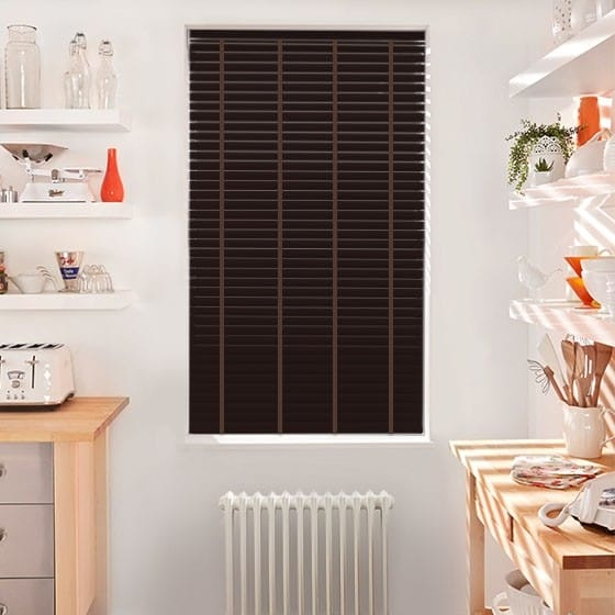 Innovations Deep Mahogany with Earth Tape Faux Wood Blind - 50mm Slat