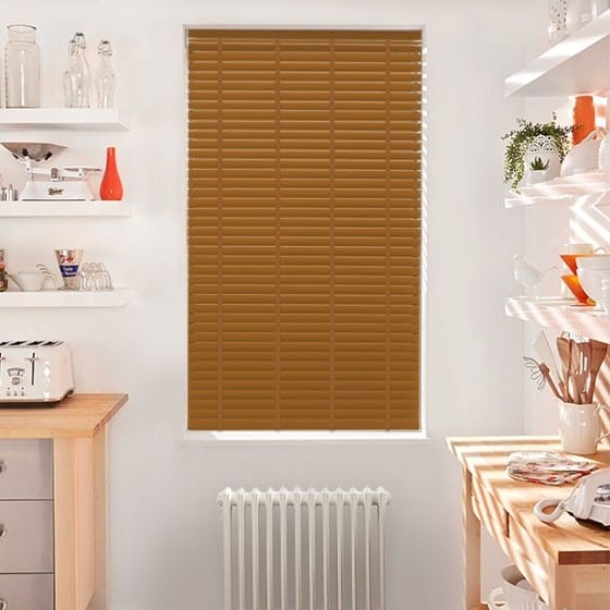 Innovations Divine Gold with Tan Tape Faux Wood Blind - 50mm Slat