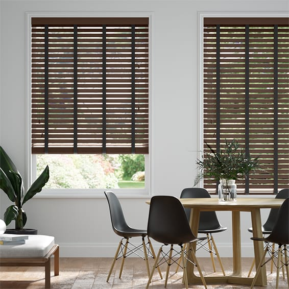 Innovations Hot Walnut with Black Tape Faux Wood Blind - 50mm Slat