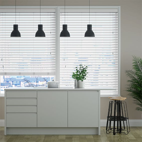 Innovations Satin White Faux Wood Blind - 50mm Slat