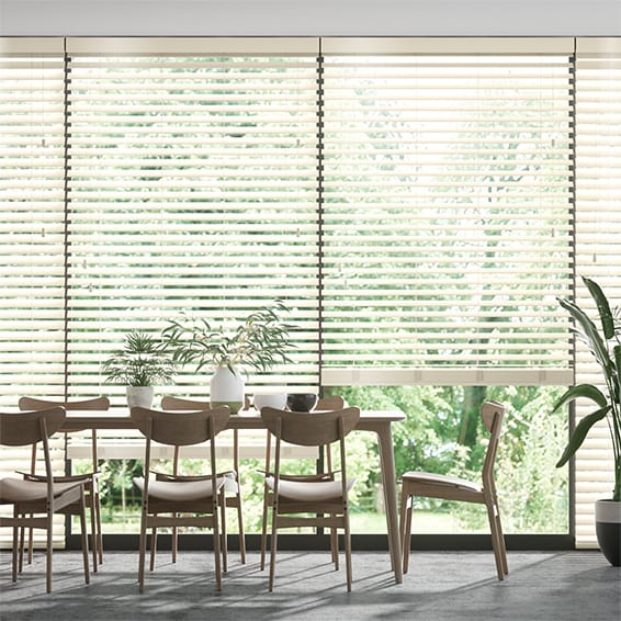 Innovations Shine Ivory Faux Wood Blind - 50mm Slat