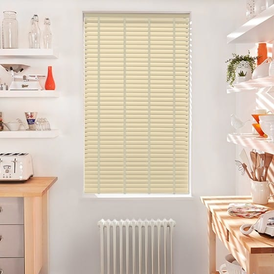 Innovations Shine Ivory with Pearl Tape Faux Wood Blind - 50mm Slat