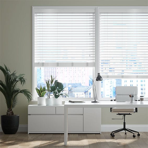 Innovations Shine White Faux Wood Blind - 50mm Slat