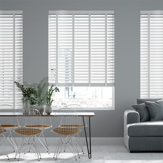 Innovations Shine White with White Tape Faux Wood Blind - 50mm Slat
