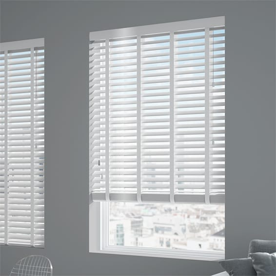 Innovations Shine White With White Tape Faux Wood Blind 50mm Slat