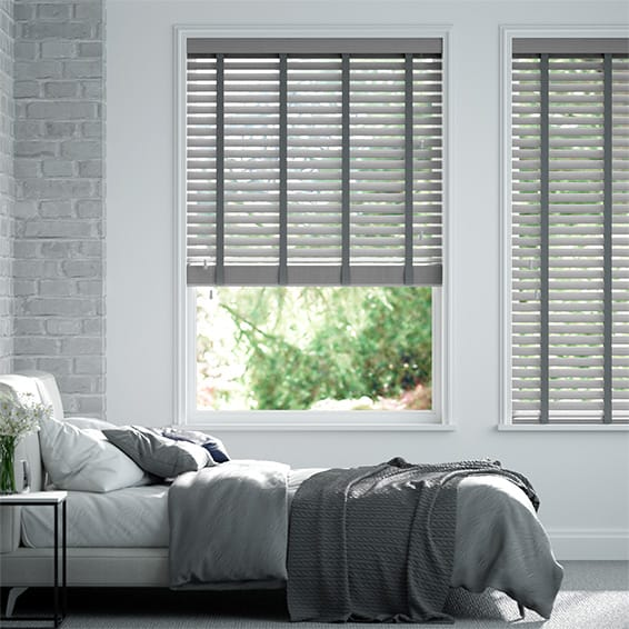 Innovations Silver Moon with Grey Tape Faux Wood Blind - 50mm Slat