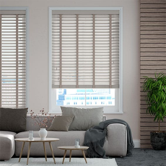 Innovations Soft Fossil with Taupe Tape Faux Wood Blind - 50mm Slat