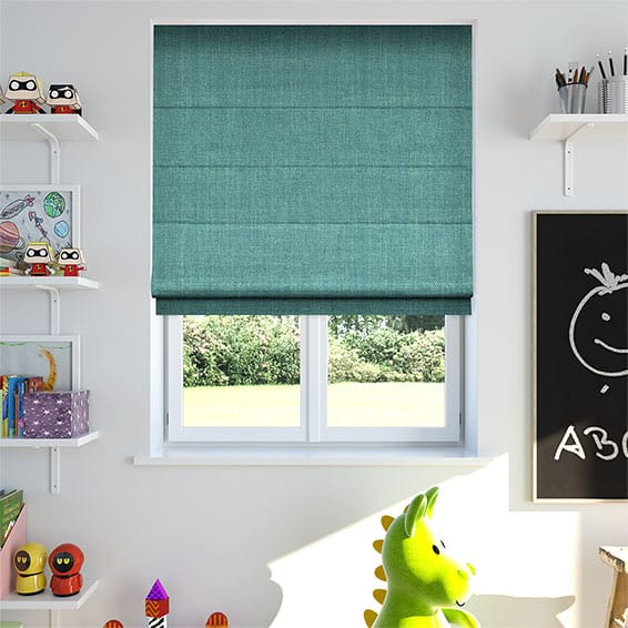 Oscuro Linen Turquoise Roman Blind