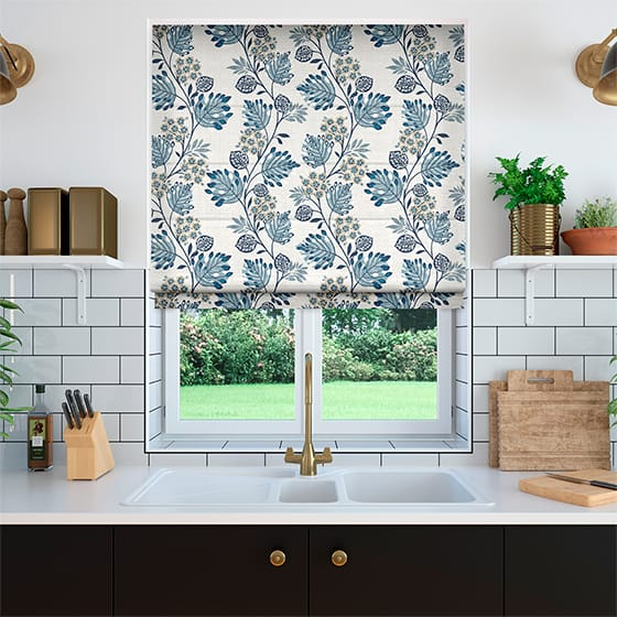Retro Stems Linen Blue Roman Blind