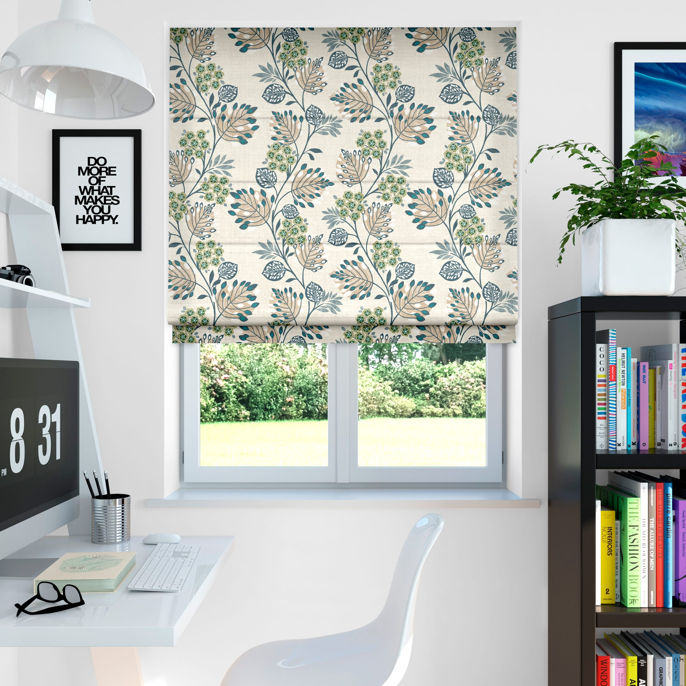 Retro Stems Linen Cyan Roman Blind