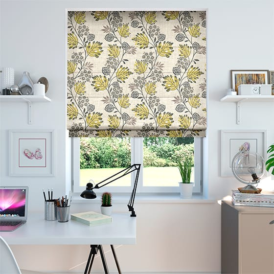 Retro Stems Linen Gold Roman Blind