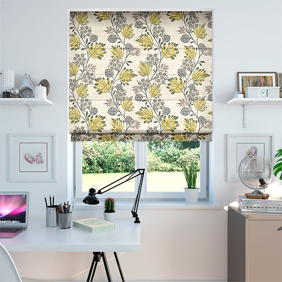 Retro Stems Linen Rustic Sunflower Roman Blind