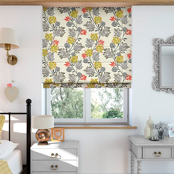 Retro Stems Strawberry Roman Blind