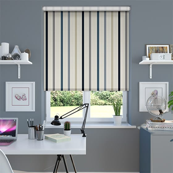Ribbon Stripe Blue Roller Blind